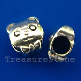 Bead, antiqued silver-finished, large hole,10x6mm cat. Pkg of 10