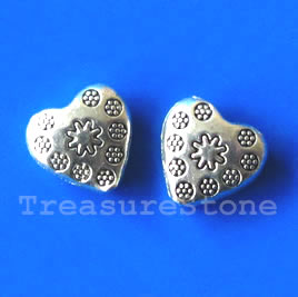 Bead, silver-finished, 11x4mm puffed heart. Pkg of 10.
