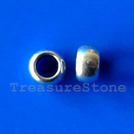 Bead, silver-finished, large hole, 4x5mm. Pkg of 20.