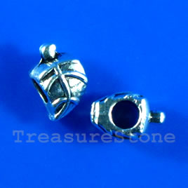 Bead, silver-finished, large hole, 8x13mm leaf. Pkg of 10.