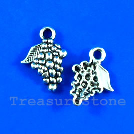 Pendant/charm, silver-finished,13x14mm grapes. Pkg of 14.
