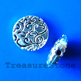 Bead, antiqued silver-finished, 10x2mm. Pkg of 12.