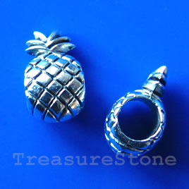 Bead, silver-finished, large hole, 7x12mm pineapple. Pkg of 12.