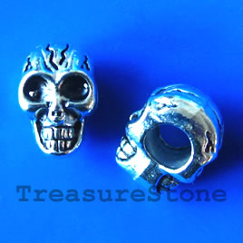Bead, antiqued silver-finished, large hole, 8x11mm skull. 10pcs