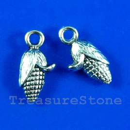 Pendant/charm, silver-finished, 7x12mm corn. Pkg of 15.
