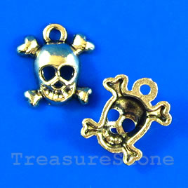 Pendant/charm, gold-finished, 13mm skull. Pkg of 15.