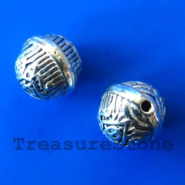 Bead, silver-finished, 8mm round. Pkg of 12.
