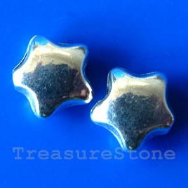 Bead, silver-finished, 10mm star. Pkg of 15.