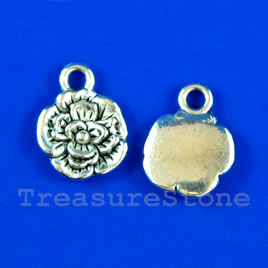 Pendant/charm, silver-finished, 10mm flower. Pkg of 15.