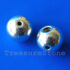 Bead, silver-plated, guru, 10mm round. Pkg of 4.