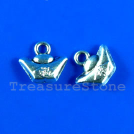 Pendant/charm, silver-finished,12mm YUAN BAO. Pkg of 15.