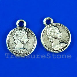 Pendant/charm, silver-finished, 12mm coin. Pkg of 15.