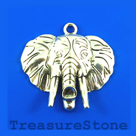 Pendant, silver-finished, 44x52mm elephant. Sold individually.