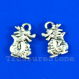 Pendant/charm, silver-finished,10x14mm dragon. Pkg of 15.