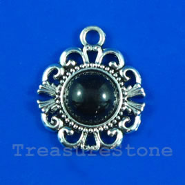 Pendant/charm, silver-finished, 20mm. Pkg of 3.