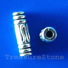 Bead, antiqued silver-finished, 13x4mm tube. Pkg of 20.