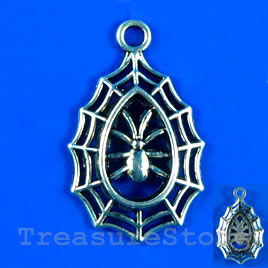 Pendant/charm, silver-finished,21x30mm spider. Pkg of 3.