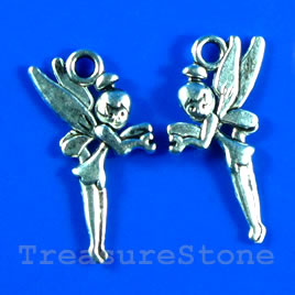 Pendant/charm, silver-finished,15x24mm fairy. Pkg of 12.