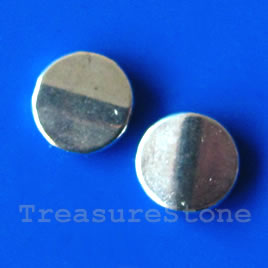Bead, silver-finished, 10mm. Pkg of 15.