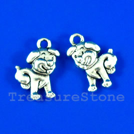 Pendant/charm, silver-finished,12x15mm puppy. Pkg of 10.
