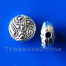 Bead, antiqued silver-finished, 10x5mm. Pkg of 12