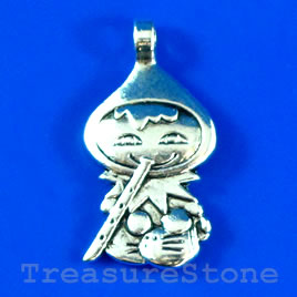 Pendant/charm, silver-finished,15x24mm girl. Pkg of 4.