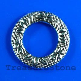Bead, antiqued silver-finished, 25mm circle. Pkg of 4.