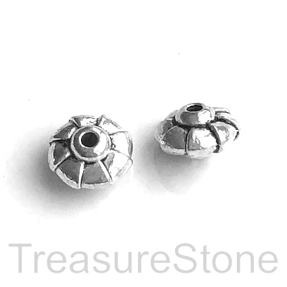 Bead, antiqued silver-finished, 10x6mm saucer. Pkg of 12.