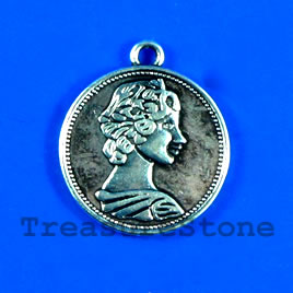 Pendant/charm, silver-finished, 20mm coin. Pkg of 5.