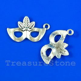 Pendant/charm, silver-finished,16x23mm mask. Pkg of 6.