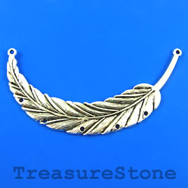 Pendant/Connector, silver-finished, 45x90mm feather. Each