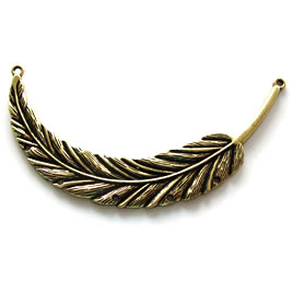Pendant/Connector, brass-finished, 45x90mm feather. Each