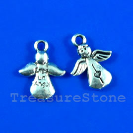 "Pendant/charm, 13mm angel. ""eres un angel"". Pkg of 15."