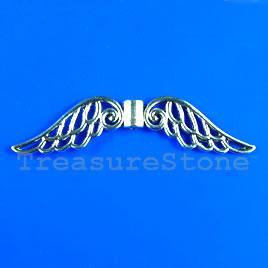 Bead, silver-finished, 13x50mm angel wings. Pkg of 4.