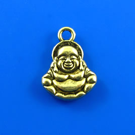 Charm, gold-finished, 14x15mm buddha. Pkg of 5.