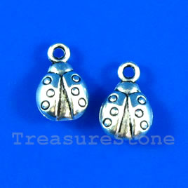Pendant/charm,silver-finished,9x11mm ladybug. Pkg of 12.