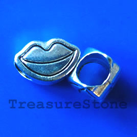 Bead, antiqued silver-finished, large hole, 10x6mm lips. 15pcs