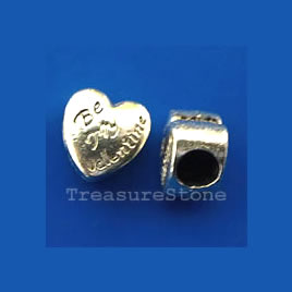 Bead, heart, Be My Valentine, large hole, 10x7mm. pkg of 8.