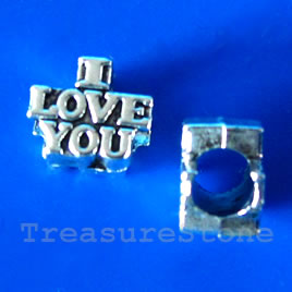 Bead, silver-finished, large hole, 10x9mm I LOVE YOU. 10pcs