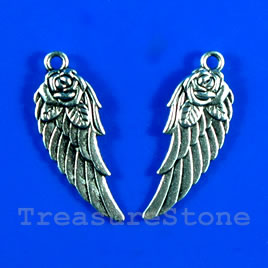 Pendant/charm,silver-finished,11x28mm double-sided wing.Pkg of 4