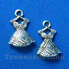Pendant/charm, silver-finished, 15x18mm dress. Pkg 0f 6.