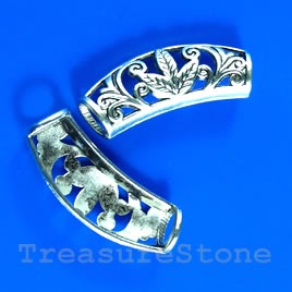 Bead, antiqued silver-finished, 13x30x7mm filigree. Pkg of 4.