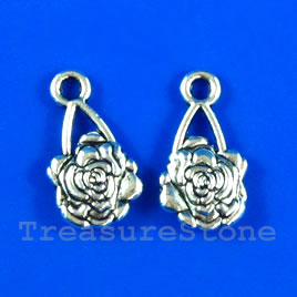 Pendant/charm, silver-finished,9x13mm flower. Pkg of 15.