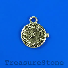 Charm/pendant, silver-plated, 15mm watch face. Pkg of 8.