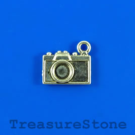 Charm, silver-finished, 9x13mm camera. Pkg of 15.