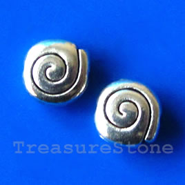Bead, antiqued silver-finished, 10mm. Pkg of 15