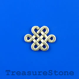 Charm/link, silver-colored, 12x15mm knot. Pkg of 12.