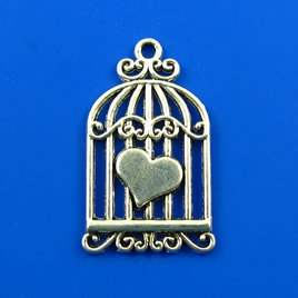 Pendant, silver-finished, 20x30mm birdcage with heart. Pkg of 5