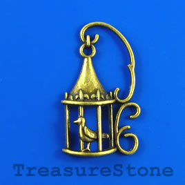 Pendant, brass plated, 24x34mm bird cage. Pkg of 4.