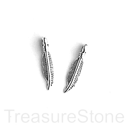 Charm/pendant, silver colored, 4x15mm feather. Pkg of 15